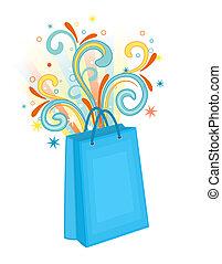 bleu, sac, achats