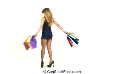 bleu, sacs, court, achats, blond, sombre, sourire, séduisant, fond, girl, robe, blanc