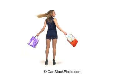 bleu, sacs, court, achats, lent, blond, beau, mouvement, fond, sombre, girl, robe, blanc, sourire