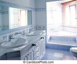 bleu, salle bains, classique, tuiles, décoration, intérieur