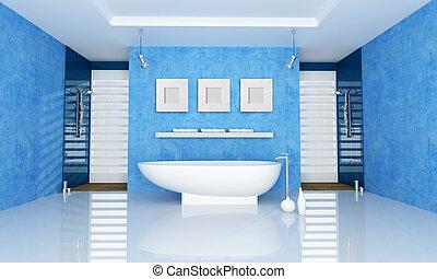 bleu, salle bains