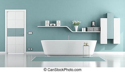 bleu, salle bains, moder