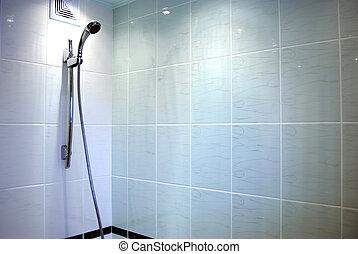 bleu, salle bains, moderne