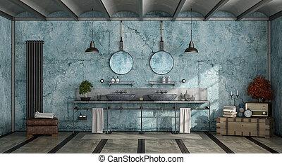 bleu, salle bains, retro