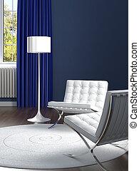 bleu, salle, classique, chaises, conception, intérieur, blanc