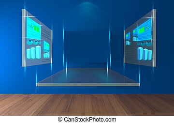 bleu, salle, conférence