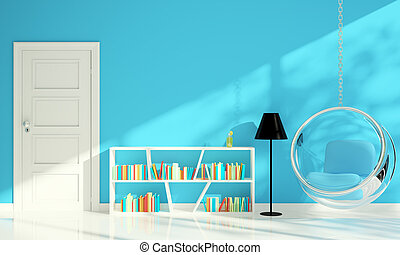 bleu, salle de séjour, moderne, conception, intérieur, chaise, bulle