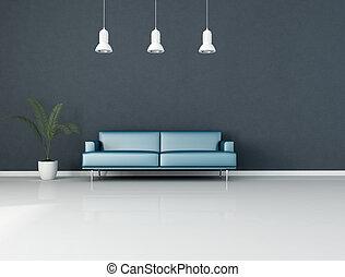 bleu, salle de séjour