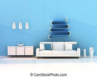 bleu, salle de séjour, salle moderne