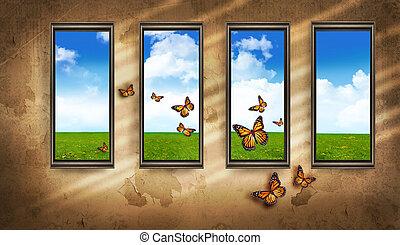 bleu, salle, fenetres, ciel, sombre, papillons, grungy