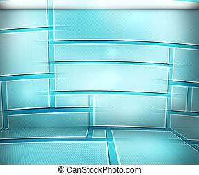 bleu, salle, fond, virtuel