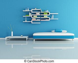 bleu, salle, habiter moderne