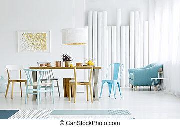 bleu, salle manger, intérieur