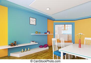 bleu, salle, render, dîner, orange, 3d
