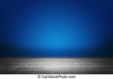 bleu, salle, toile de fond