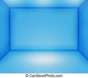 bleu, salle vide, toile de fond