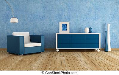 bleu, salle, vivant