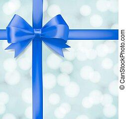 bleu, salutation, arc, arrière-plan., vecteur, conception, flou, gabarit, ruban