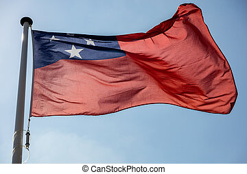 bleu, samoa, ciel clair, contre, drapeau ondulant