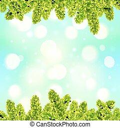 bleu, sapin, branches, lumière, cadre, arbre, effet, bokeh, fond, noël