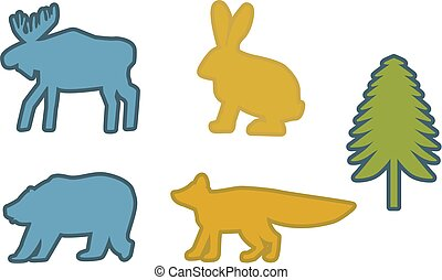 bleu, sapin, ensemble, renard, jaune, silhouettes, vert, ours, lapin, élan