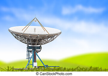 bleu, satellite, antenne, grand ciel, radar, fond, plat, herbe, taille