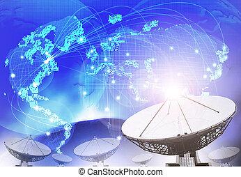 bleu, satellite, nous, thème, connecter, plat, mondiale, technologie