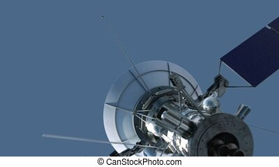 bleu, satellite, voler, earth's, surface, fond, hd