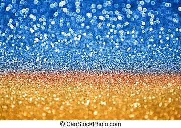 bleu, scintillement, or