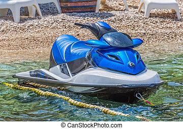 bleu, scooter, ski, jet
