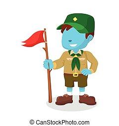 bleu, scout, conception, illustration