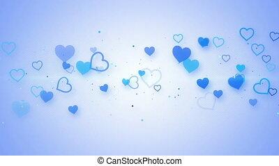 bleu, seamless, élégant, animation, cœurs, boucle