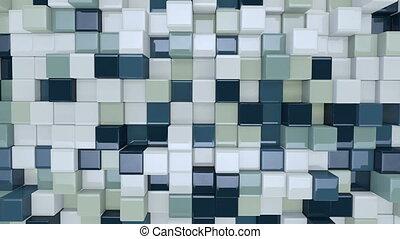 bleu, seamless, boîtes, en mouvement, blanc, boucle, 3d