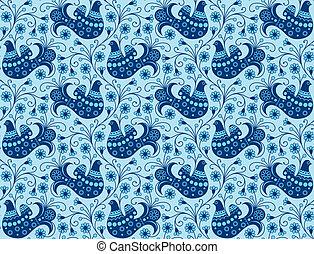bleu, seamless, fond, oiseaux
