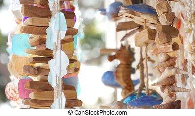 bleu, seashells, maison, californie, pendre, maison, pastel...
