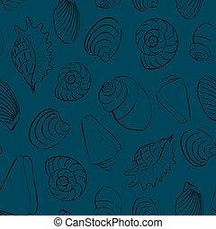 bleu, seashells, seamless, fond