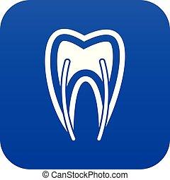 bleu, section, croix, dent, numérique, icône