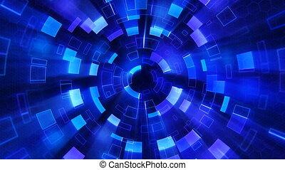 bleu, segments, brillant, boucle, circulaire