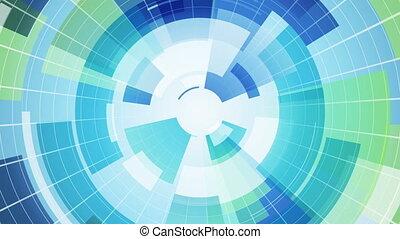 bleu, segments, loopable, fond, résumé, circulaire