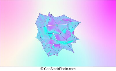 bleu, semi, couleurs, illustration, polygonal, multicolore, métamorphose, forme, violet, cyan, 3d, transparent, blot., model.