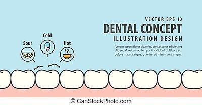 bleu, sensible, dentaire, illustration, arrière-plan., vecteur, dents, bannière, concept.
