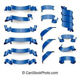 bleu, set., grand, réaliste, vecteur, lustré, ribbons.