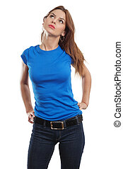 bleu, sexy, chemise, femme, vide