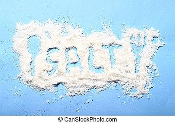 bleu, shaker, renversé, papier, fond, petit, sel