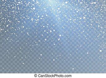 bleu, shine., snowflakes., modèle, isolé, chute neige, vecteur, illustration, fond, tomber, transparent
