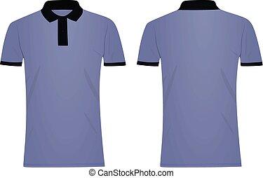bleu, shirt., sombre, t, polo, collier