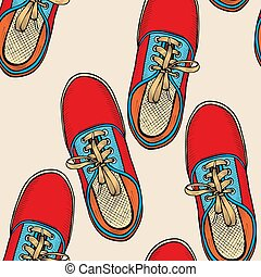 bleu, shoes., rouges