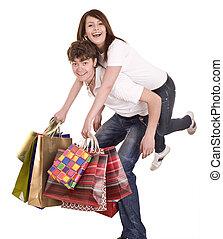 bleu, shopping., couple, jean
