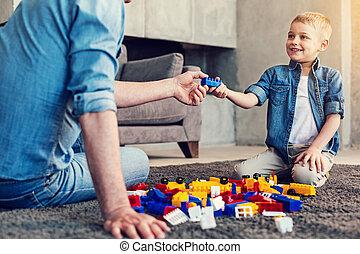 bleu, sien, donner, relatif, enfant, brique, heureux