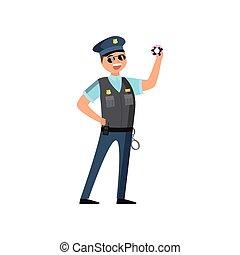 bleu, sien, police, policier, gens., casquette, quotidiennement, uniforme, exécute, protéger, travail, écusson, lunettes